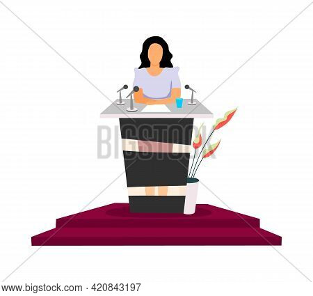 Successful Female Politician Flat Color Vector Faceless Character. Woman Presidential Candidate. Giv