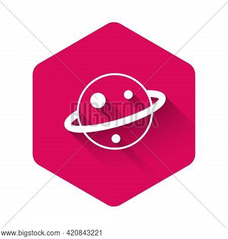 White Planet Saturn With Planetary Ring System Icon Isolated With Long Shadow Background. Pink Hexag
