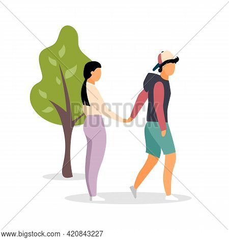 Couple Holding Hands At Park Flat Color Vector Faceless Characters. Relaxing Romantic Stroll With Bo