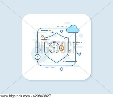 Cogwheel With Timer Line Icon. Abstract Vector Button. Engineering Tool Sign. Cog Gear Symbol. Cogwh