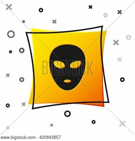 Black Alien Icon Isolated On White Background. Extraterrestrial Alien Face Or Head Symbol. Yellow Sq