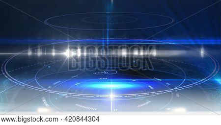 Composition of digital scope scanning on glowing blue background. global networks and digital interface concept digitally generated image.