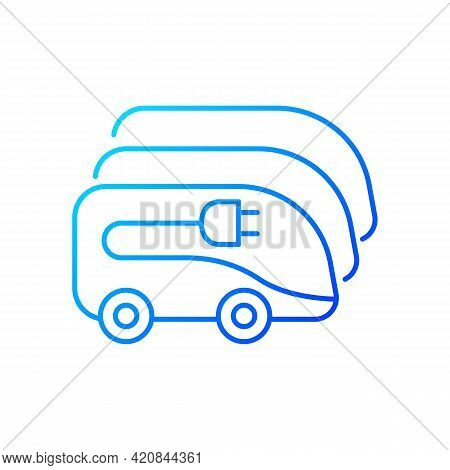 Charging In Electric Bus Depot Gradient Linear Vector Icon. Human Transportation Electronical Vehicl