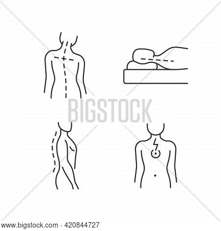 Postural Dysfunction Linear Icons Set. Head Tilt. Incorrect Sleeping Position. Normal Spinal Anatomy