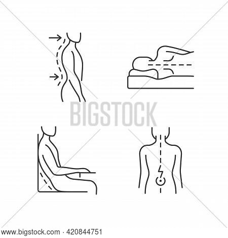 Postural Dysfunction Linear Icons Set. Lumbar Lordosis. Side-lying Sleeping Position. Muscle Spasms.