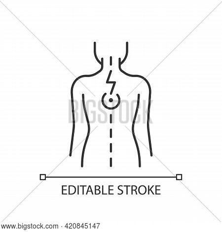 Pressure On Spinal Nerves Linear Icon. Muscle Spasms. Pain Between Shoulder Blades. Numbness. Thin L