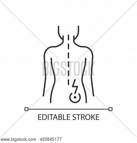 Lower Right Back Pain Linear Icon. Sprains And Strains. Muscle-related One-sided Backache. Thin Line