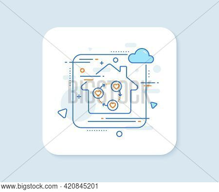 Friends Community Line Icon. Abstract Vector Button. Friendship Love Sign. Assistance Business Symbo