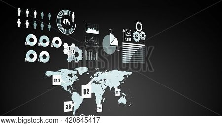 Digitally generated image of digital interface with data processing against black background. computer interface and technology concept