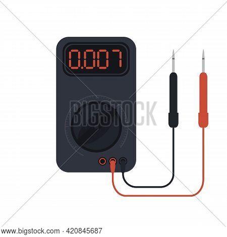 Multimeter Instrument Of Voltage. 2d Flat Vector