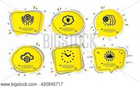 Energy, Cloud Computing And Organic Tested Icons Simple Set. Yellow Speech Bubbles With Dotwork Effe