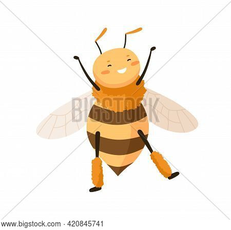 Cute Happy Honey Bee Dancing With Paws Up. Funny Adorable Smiling Honeybee. Cheerful Bumblebee Or Wa