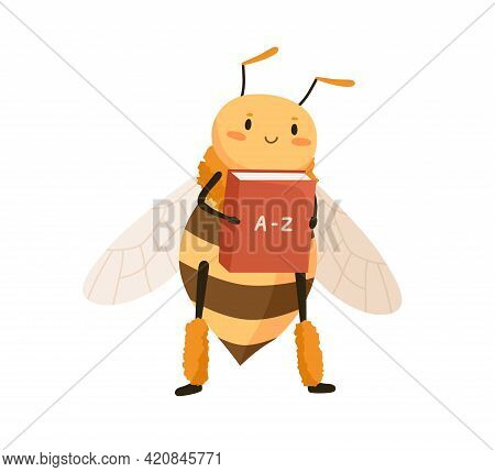 Cute Funny Honey Bee Holding School Abc-book. Happy Adorable Honeybee Studying With Dictionary. Smar
