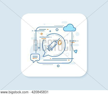 Medical Syringe Line Icon. Abstract Square Vector Button. Medicine Vaccine Sign. Pharmacy Medication