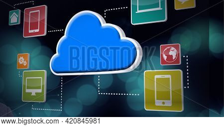 Smart devices and internet icons over blue background, technology and corporate concepts. digitally generated image