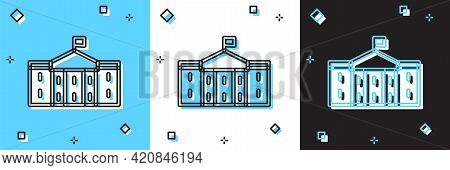 Set United States Capitol Congress Icon Isolated On Blue And White, Black Background. Washington Dc,