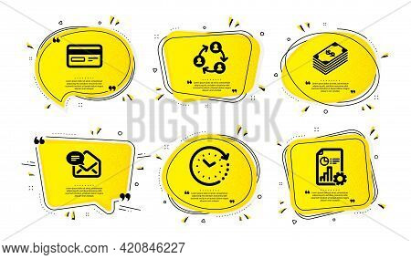 Teamwork, New Mail And Credit Card Icons Simple Set. Yellow Speech Bubbles With Dotwork Effect. Doll