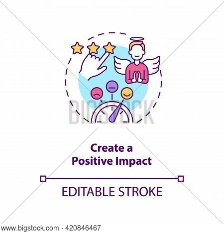 Create Positive Impact Concept Icon. Digital Footprint. Personal Branding Strategy. Communication Wi