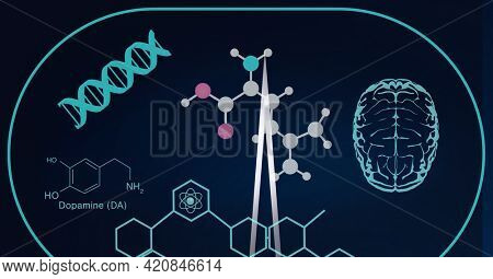 Composition of dna, medical data and chemical compounds on black background. global science, medicine, digital interface and data processing concept digitally generated image