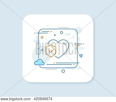 Life Insurance Line Icon. Abstract Square Vector Button. Health Coverage Sign. Protection Policy Sym