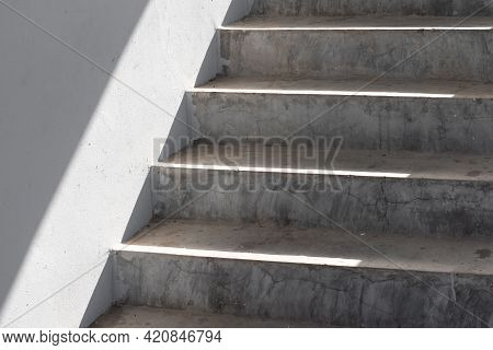 Close Up Cement Stairs And Sunlight Stairs