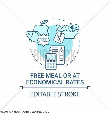 Free Meal Or At Economical Rates Concept Icon. Improving Health By Eating Natural Snacks. School Lun