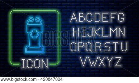 Glowing Neon Stage Stand Or Debate Podium Rostrum Icon Isolated On Brick Wall Background. Conference