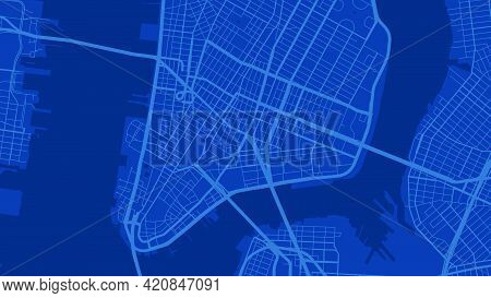 Blue New York City Area Vector Background Map, Streets And Water Cartography Illustration. Widescree