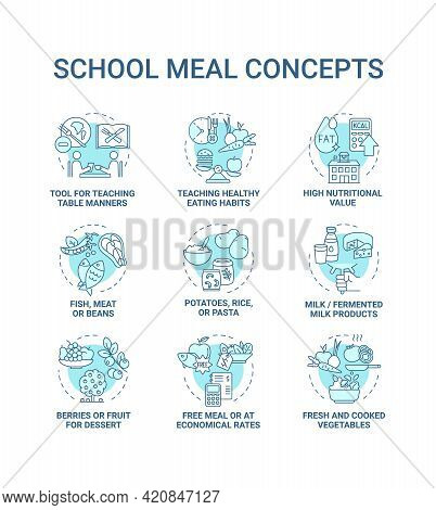 School Meal Concept Icons Set. Creating School Meals List Full Of Nutritions And Vitamins. Healthy E