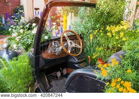 Flowers grow in the car, the original design of the classic vintage car interior, close up on steering wheel, dasboard, retro effect