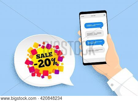 Sale 20 Percent Off Banner. Hand Holding Phone With Chat Messages. Discount Sticker Shape. Coupon Bu