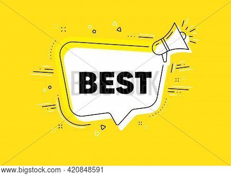 Best Sign. Megaphone Yellow Vector Banner. Special Offer Sale Sign. Advertising Discounts Symbol. Th
