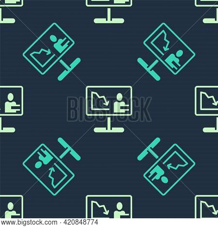 Green And Beige Global Economic Crisis News Icon Isolated Seamless Pattern On Blue Background. World