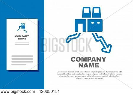 Blue Shutdown Of Factory Icon Isolated On White Background. Industrial Building. Logo Design Templat