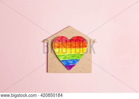 Toy Wooden House With Lgbt Rainbow Heart On Pink Background. Symbol Of Free Love And Tolerance To Ho