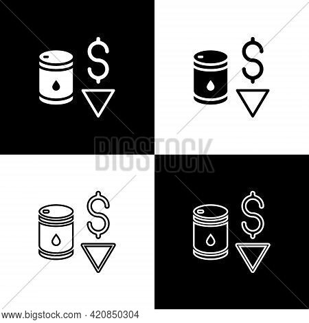 Set Drop In Crude Oil Price Icon Isolated On Black And White Background. Oil Industry Crisis Concept
