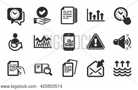 Time Management, Investment And Documents Icons Simple Set. Smartphone Statistics, Share And Loud So