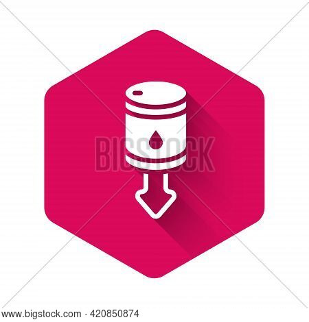 White Drop In Crude Oil Price Icon Isolated With Long Shadow Background. Oil Industry Crisis Concept
