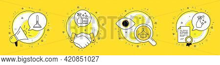 Plunger, Cleanser Spray And Clean Towel Line Icons Set. Megaphone, Licence And Deal Vector Icons. Wa