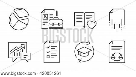 Interview, Accounting And Legal Documents Line Icons Set. Vacancy, Pie Chart And Love Book Signs. Re