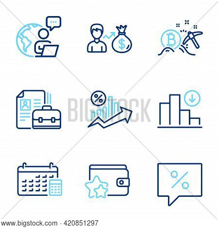 Finance Icons Set. Included Icon As Discount Message, Bitcoin Mining, Sallary Signs. Calendar, Loan