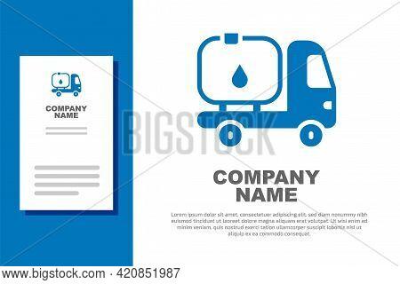 Blue Fuel Tanker Truck Icon Isolated On White Background. Gasoline Tanker. Logo Design Template Elem