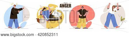 This Is Anger Concept Scenes Set. Aggressive Men And Women Screams. Negative Emotions, Problems, Fee