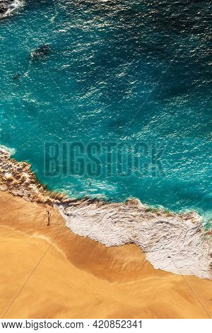 Beautiful Coast On The Islands In The Indian Ocean, Vertical View. Beautiful Sandy Beach With Turquo