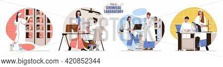 This Is Chemical Laboratory Concept Scenes Set. Researchers Do Lab Tests With Flasks, Test Tubes, Sc