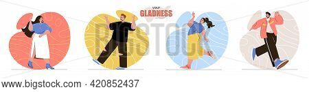 Your Gladness Concept Scenes Set. Smiling Men And Women Jumps And Expression Positive Emotions. Joy