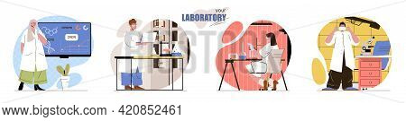 Your Laboratory Concept Scenes Set. Scientists Do Scientific Research Or Experiments, Making Lab Tes