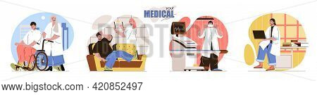 Your Medical Concept Scenes Set. Nurse Assists Disabled Person In Wheelchair, Doctor Diagnoses Disea