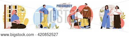 Your Pregnancy Concept Scenes Set. Happy Pregnant Woman, Couple Expecting Baby, Maternity Support, M