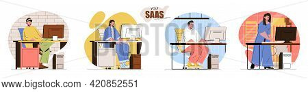 Your Saas Concept Scenes Set. Developers Create Applications, Users Buy Software Subscriptions. Soft